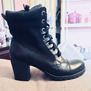 *PRICE DROP*Chunky Heel Combat Boots Faux Leather